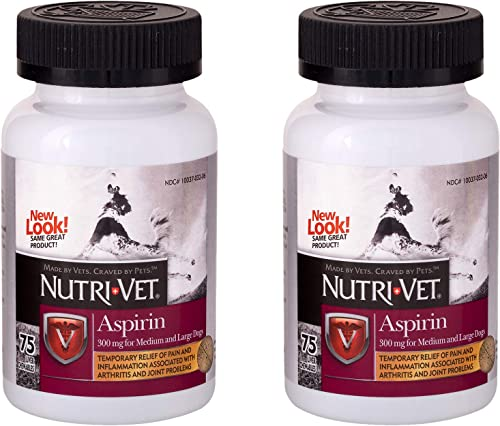 Nutri-Vet Aspirin Chewables for Large Dogs, 75 Count – Pack of 2