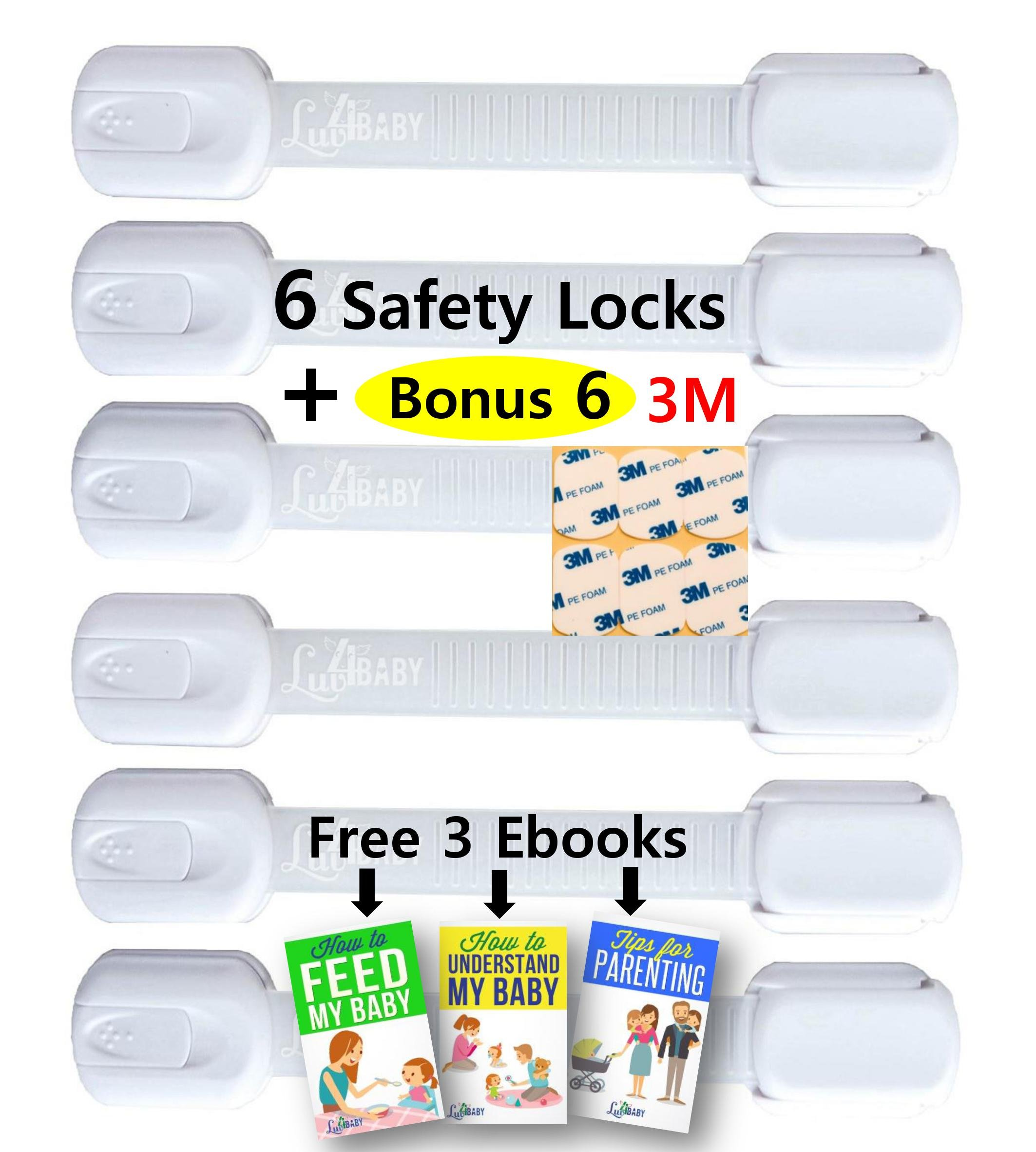 Adjustable Child Safety Locks by Luv4Baby - Latches to Baby Proof Cabinets, Drawers, Fridge, Dishwasher, Toilet Seat - No Tools or Drilling - Reusable With Extra 6 3M Adhesives Included - 6 Pack