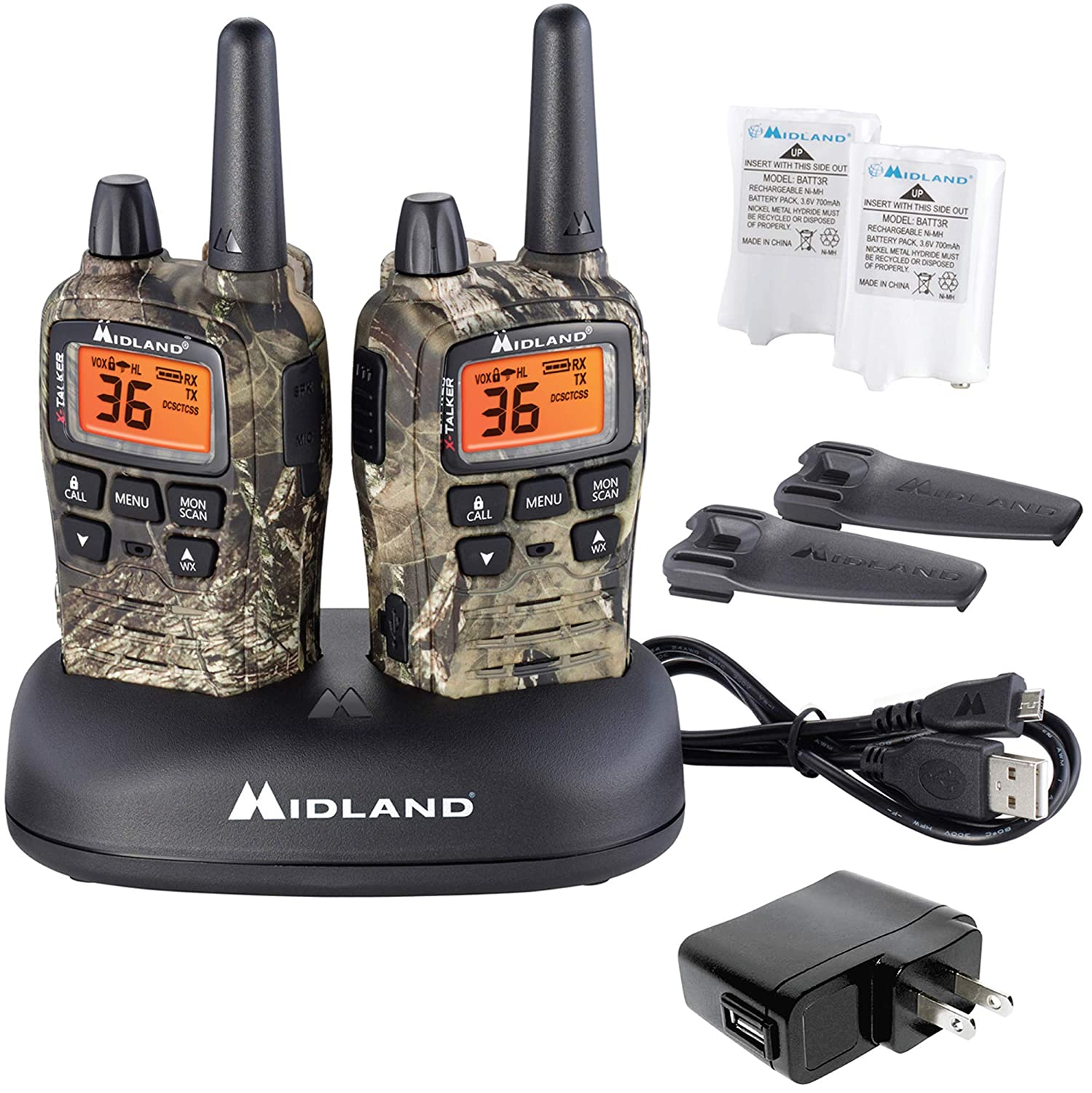 Midland – X-TALKER T75VP3, 36 Channel FRS Two-Way Radio – Up to 38 Mile Range Walkie Talkie, 121 Privacy Codes, NOAA Weather Scan Alert Pair Pack Mossy Oak Camo