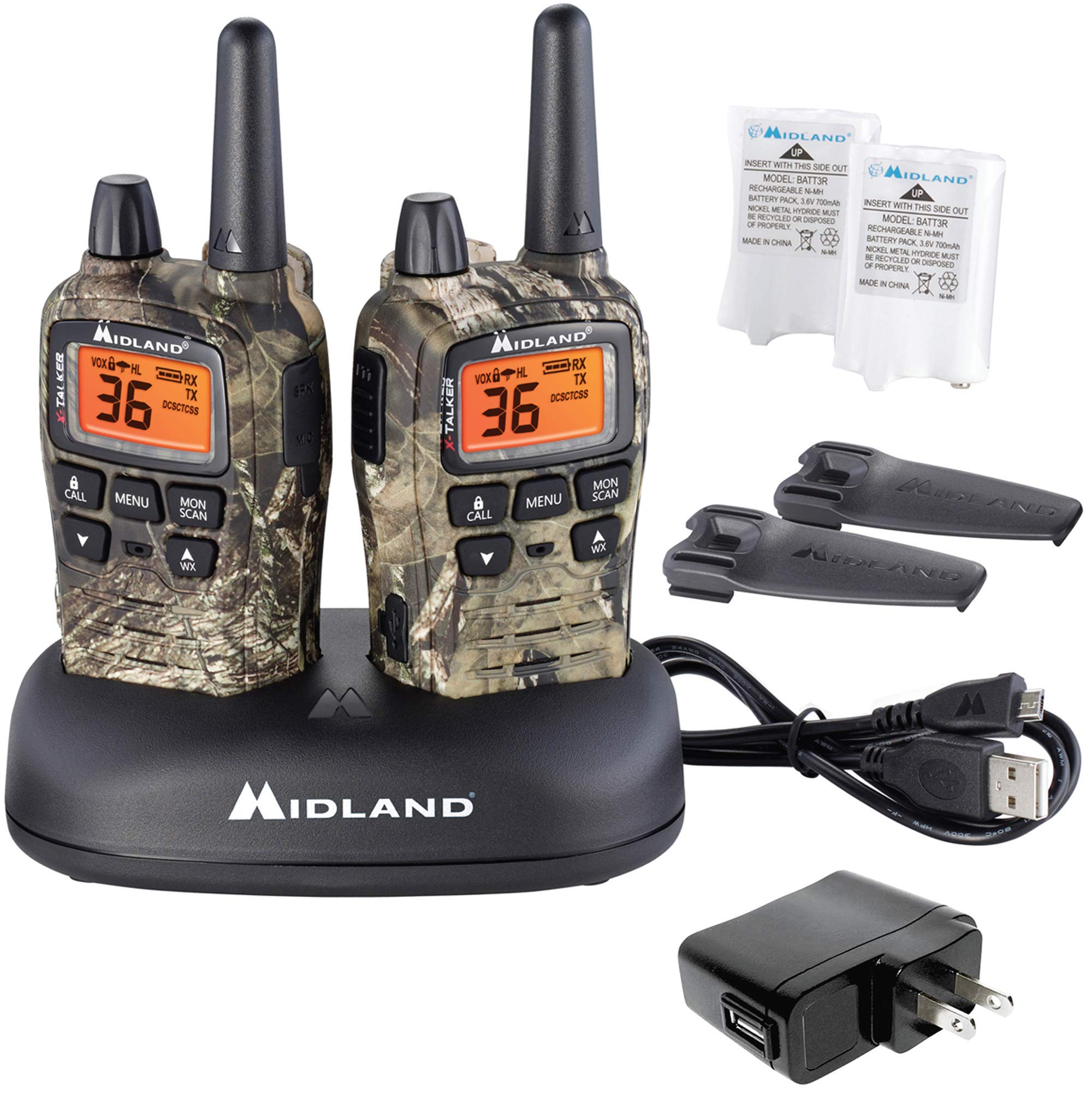 Midland - X-TALKER T75VP3, 36 Channel FRS Two-Way Radio - Up to 38 Mile Range Walkie Talkie, 121 Privacy Codes, & NOAA Weather Scan + Alert (Pair Pack) (Mossy Oak Camo) by Midland