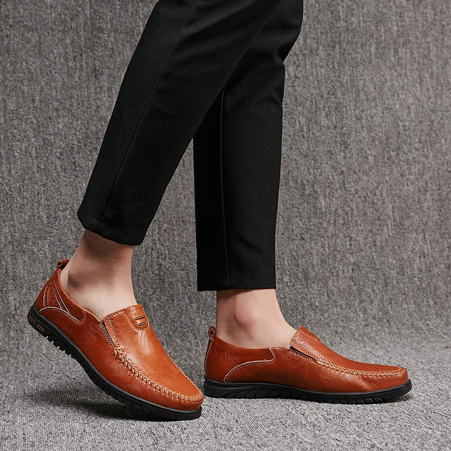 Mens Shoes Casual Genuine Leather Men Loafers Luxury Breathable Slip On Boat Shoes Large Size