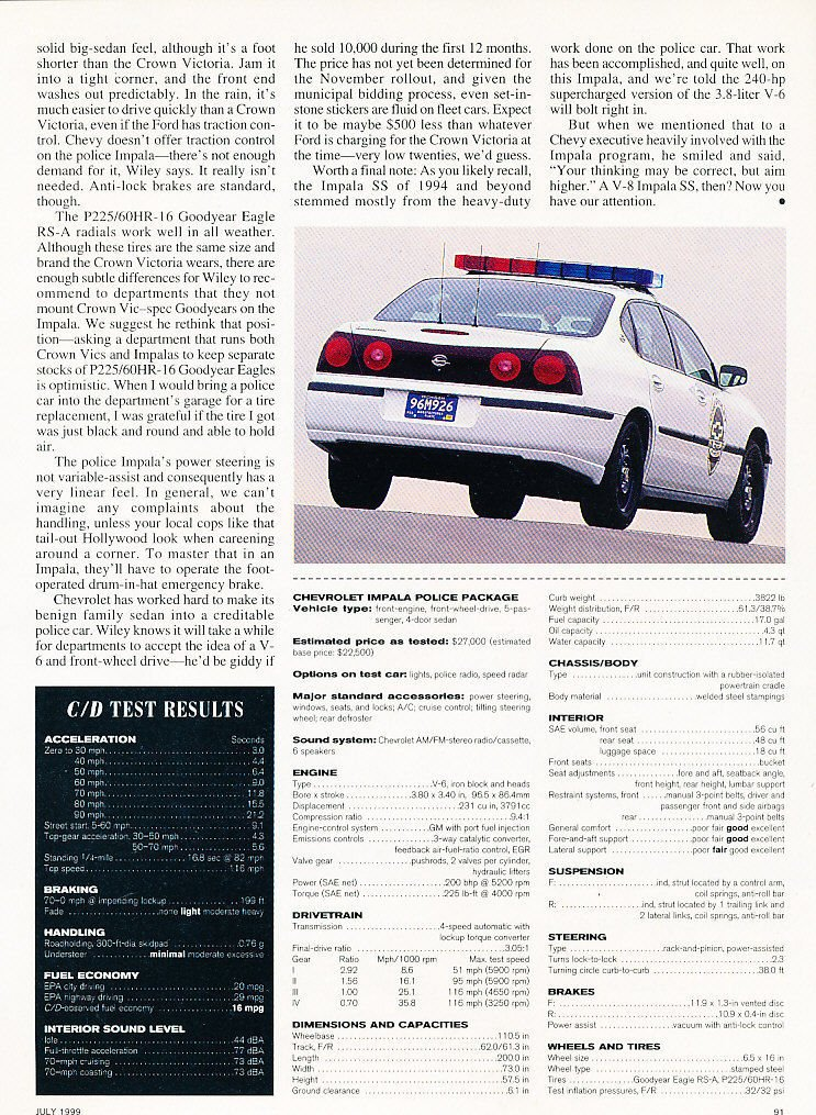 Amazon com : *ORIGINAL ROAD TEST* 2000 CHEVROLET IMPALA POLICE