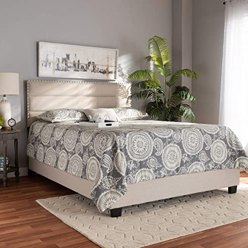 Baxton Studio Ansa Modern and Contemporary Beige Fabric Upholstered King Size Bed