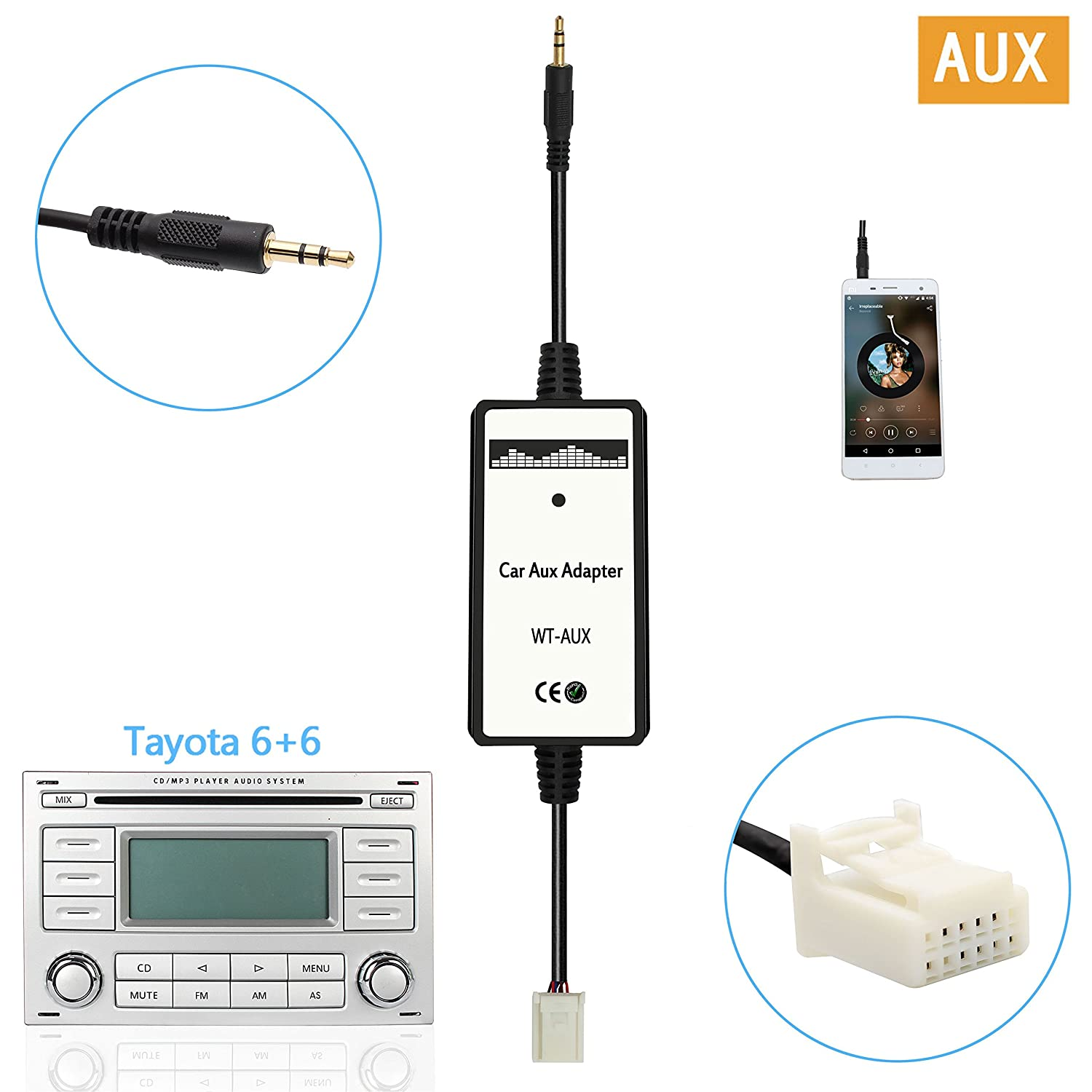 Moonet 3.5mm Audio Input Auxillary Aux Adapter Stereo Radio For 2003-UP Toyota 4Runner Avalon Camry Celica Corolla Yaris FJ Cruiser Highlander Landcruiser Matrix MR2 Tacoma Tundra Venza Vitz