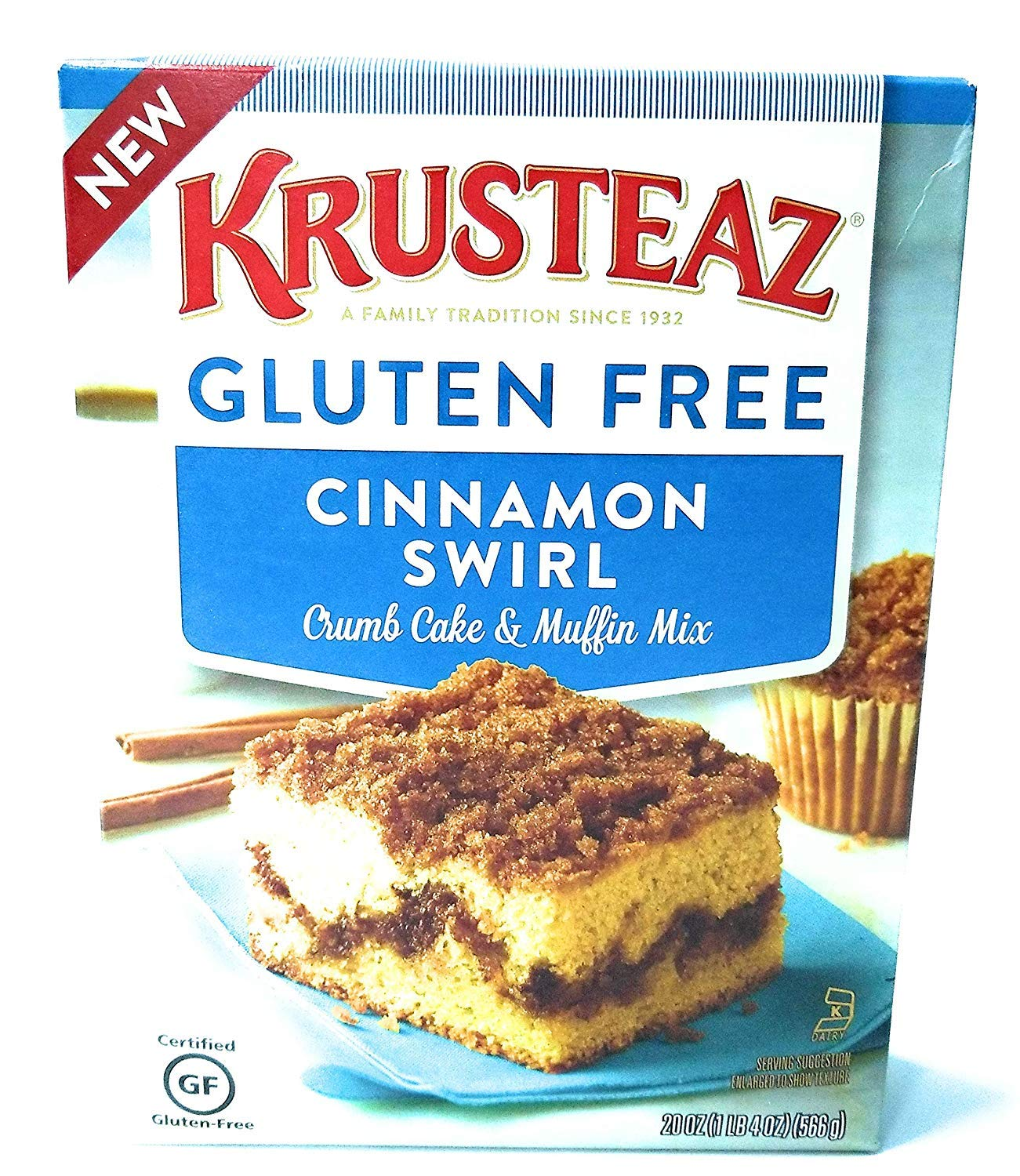 Krusteaz Gluten Free Cinnamon Swirl Crumb Cake & Muffin Mix 20oz (Pack of 3) by Krusteaz