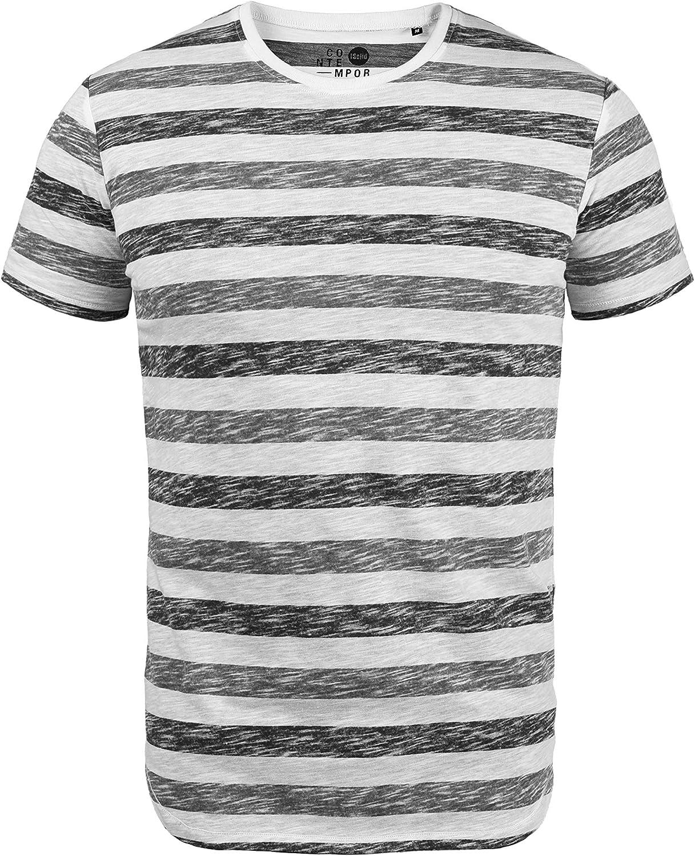 !Solid TET Herren T-Shirt Kurzarm Shirt mit Streifen und Rundhalsausschnitt