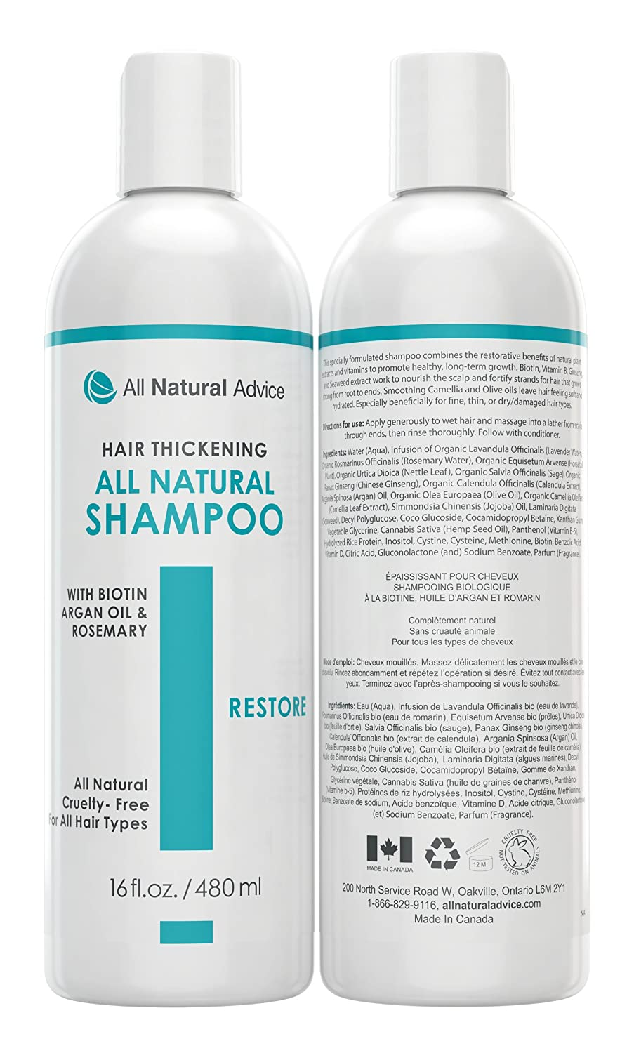 All-Natural & Organic Hair Growth Shampoo (1-Pack) Fortified with Argan Oil and Biotin | Nourishes Scalp Follicles to Promote Re-Growth of your Natural Hair. For thinning or Balding Hair of All Types – Made in Canada. Enjoy your Natural and Healthy Rad