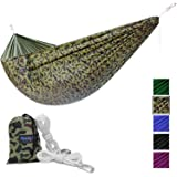 Yes4All Lightweight Camping Hammock with Carry Bag – Multi Color Available (Single) & Tree Strap (Optional)