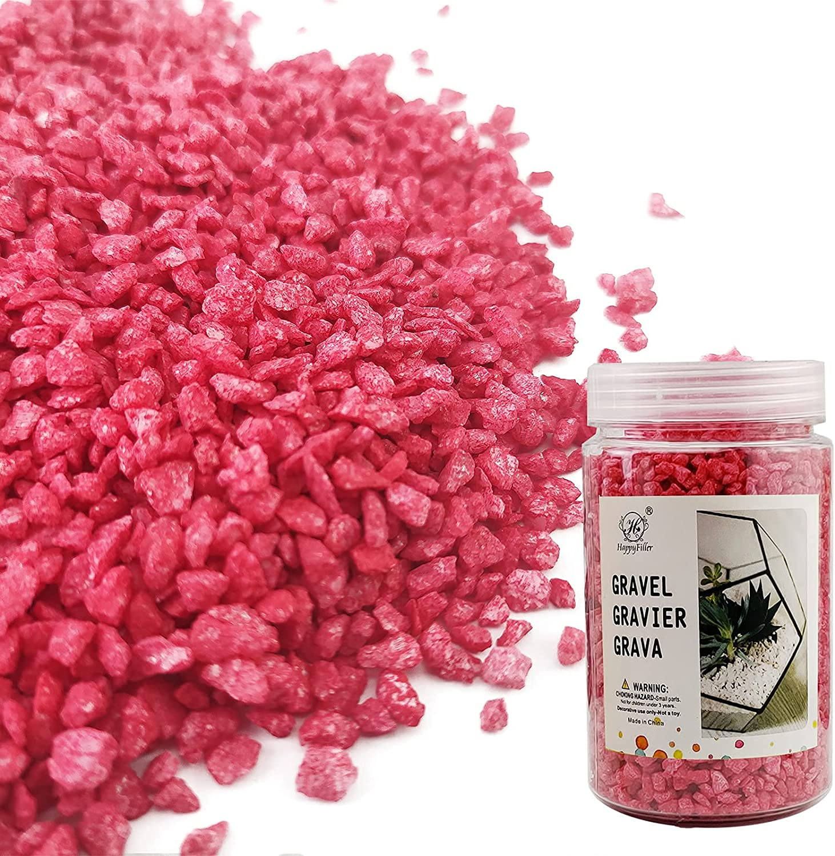 HappyFiller Ruby Red Fairy Garden Decor Stones Aquarium Gravels Planter Soil Cover Mini River Pebble Garden Landscaping Small Granule Rocks,Art Craft Wedding Ceremony Sand,1.1 LB