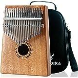 Moozica Mahogany Tone Wood 17 Keys Kalimba Marimba, High Quality Finger Thumb Piano Musical Instrument Gift with Professional Kalimba Bag