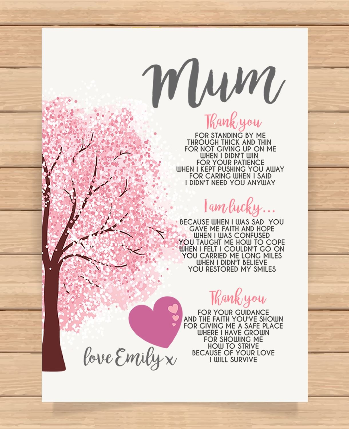 Personalised Presents Gifts For Step Mum Mummy Mother Grandma Nanny Birthday Mothers Day Christmas Xmas Heart Touching Poem Keepsake Prints Posters