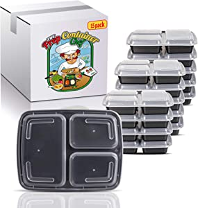 Prep Container Chef [15 Pack] 3 Compartment Bento Lunch Box. Reusable 32oz Food Storage portion Control Meal Prep Containers, Stackable, Microwave/Dishwasher/Freezer Safe. Weight Loss & Keto Diet.