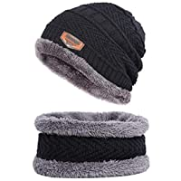 Zacharias Men's Woolen Cap with Neck Muffler/Neckwarmer Set of 2 Free Size