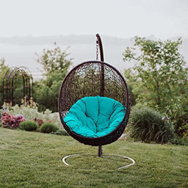 Modway EEI-739-TRQ-SET Encase Wicker Rattan Outdoor Patio Porch Lounge Egg, Swing Chair with Stand, Turquoise