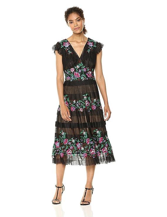 Tadashi Shoji Women\'s Tea Length Lace Dress at Amazon Women\'s ...