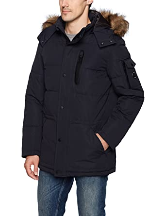 Nautica Men's Quilted Parka Jacket with Removable Faux Fur Hood ...
