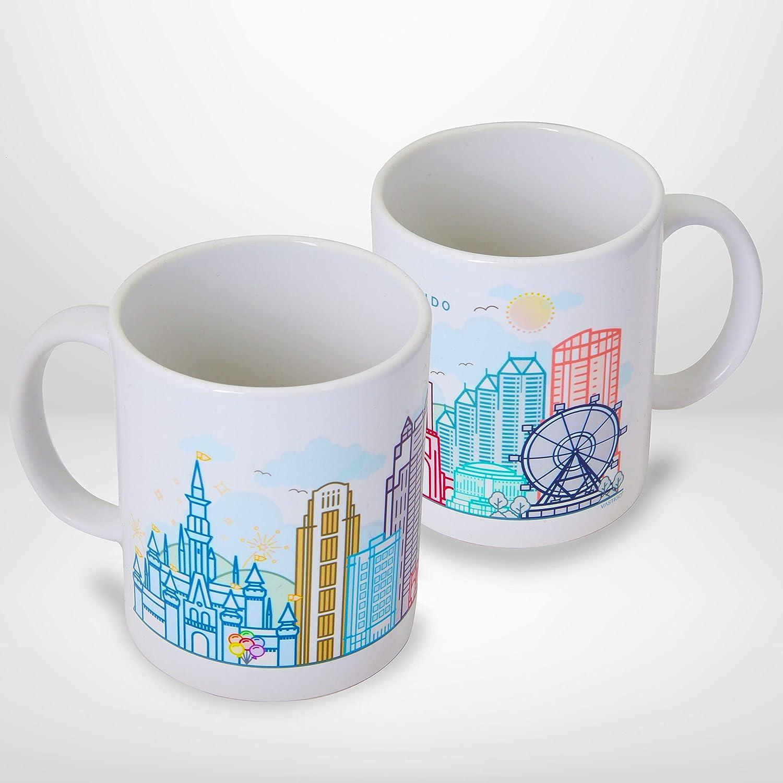 11 oz. Ceramic City Mug w/Gift Box - Top Cities in America for Coffee, Tea | Dishwasher Safe | Microwave Safe | Vastigo (Orlando)
