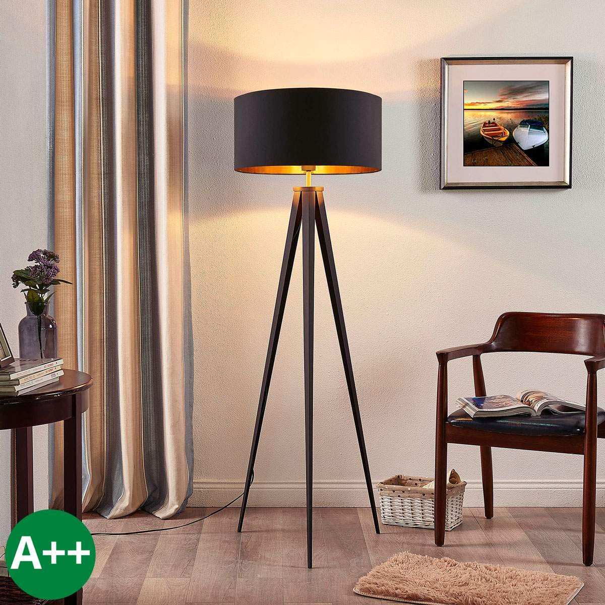 Lampenwelt Dreibein Stehlampe 'Benik' (Modern) in Schwarz aus Textil u.a. für Wohnzimmer & Esszimmer (1 flammig, E27, A++) | Stehleuchte, Floor Lamp, Standleuchte, Wohnzimmerlampe, Tripod