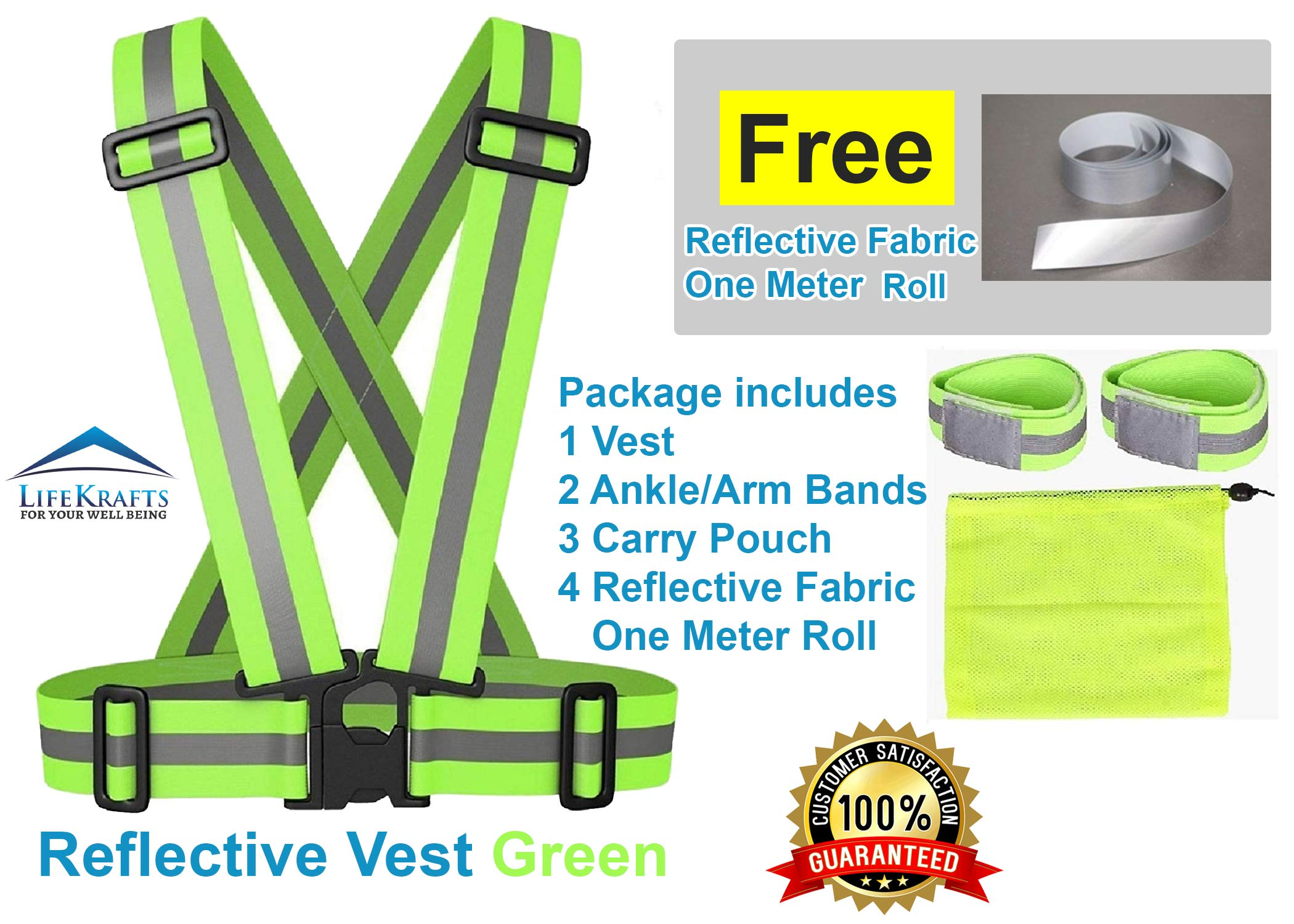 Color Myles Safety Reflective Vest for Outdoor Sports Such as Running, Jogging, Cycling, Walking and Hiking - Elastic, Lightweight, Adjustable and High Visibility product image