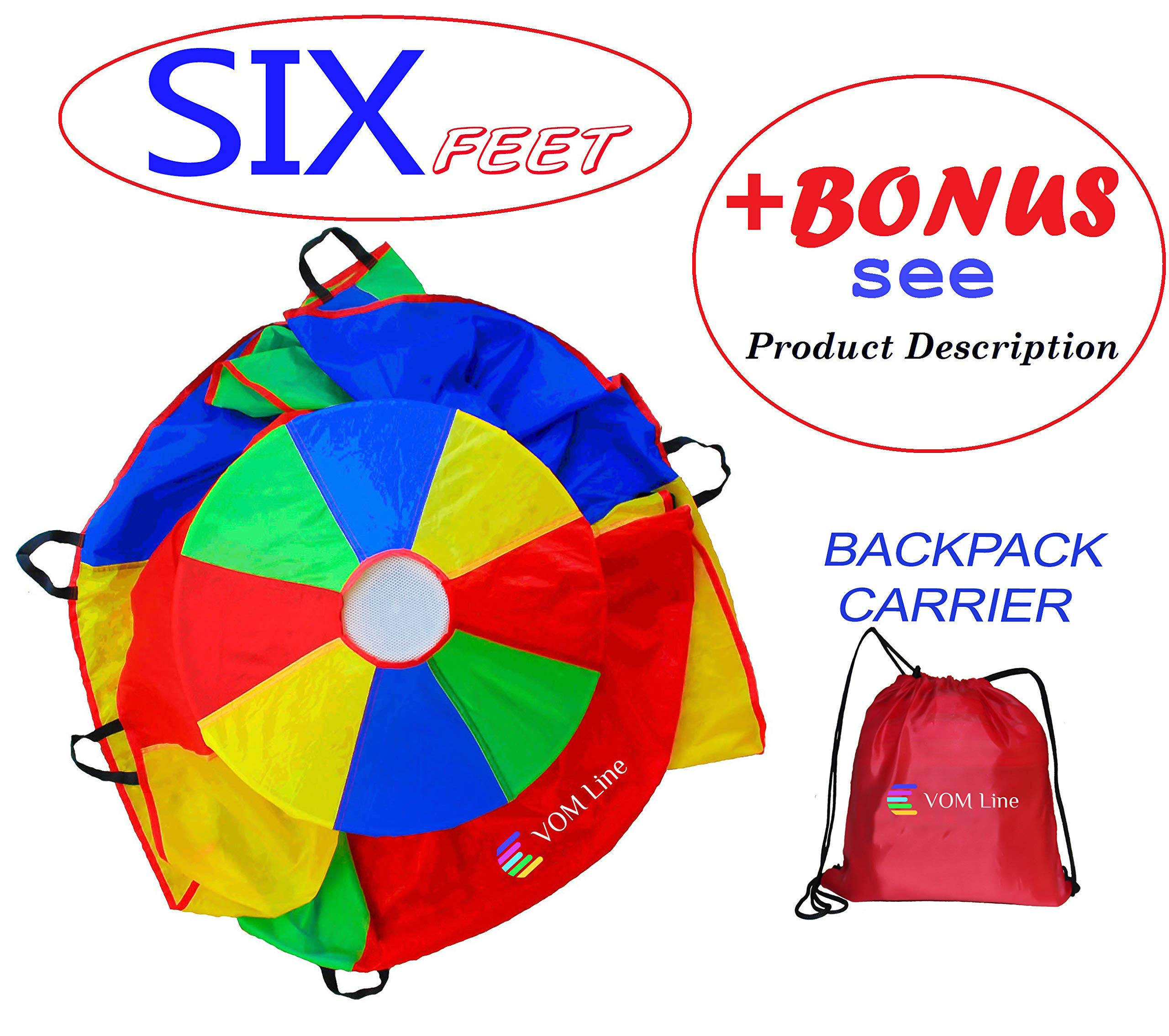 VOMLine Play Parachute 6 Foot for Kids with Extra Strong Smudge Resistant-Handles, Proper Selection of Matching Colors On The Basis of Experimental Color Testing, with High-Grade Stitching