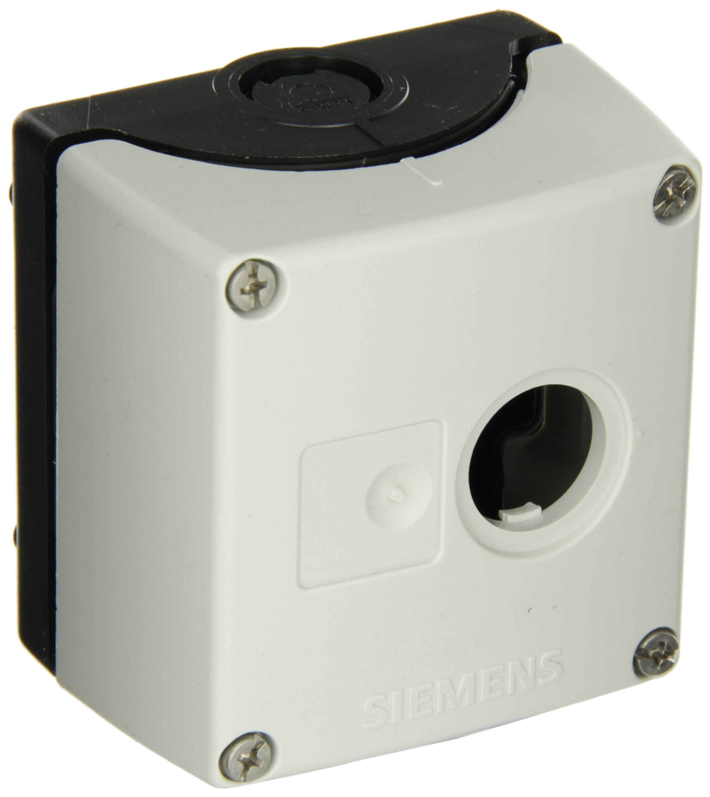 Siemens 3SB38 01-0AA3 Empty Enclosure, Molded Plastic, Used With Contact Blocks, Lampholders, 1 Pole Operator, 1 Hole