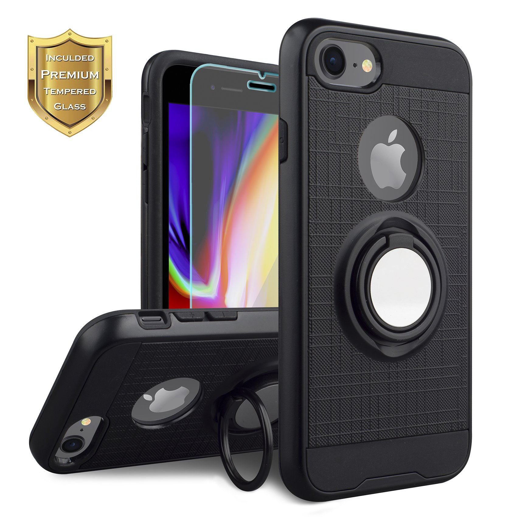 KACHEN Compatible iPhone 8, iPhone 7, 360 Degree Rotating Ring Grip Kickstand Case [Tempered Glass Screen Protector] Dual Layer Protection Compatible Magnetic Car Phone Mount, Black