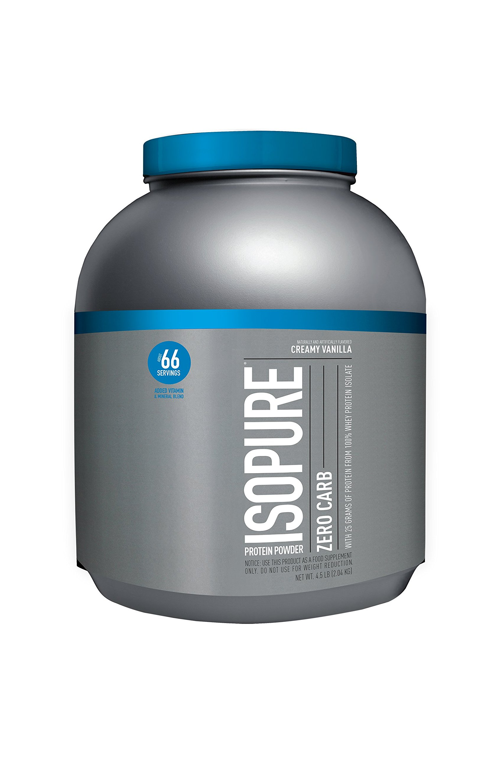 Isopure Zero Carb Protein Powder, 100% Whey Protein Isolate, Flavor: Creamy Vanilla, 4.5 Pounds (Packaging May Vary)