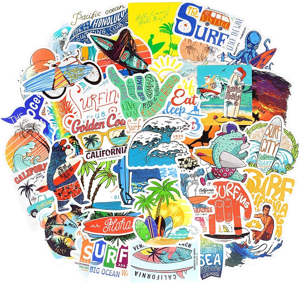 Waterproof Vsco Vinyl Stickers Pack for Water Bottle Laptop Party Favors (50 Pcs Surfing Style)