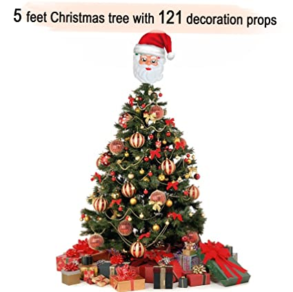 tied ribbons christmasxmas tree 5 feet with 121 tree hanging ornaments christmas tree