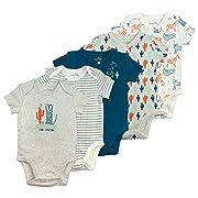 Baby Boy Bodysuit Set, 5-Pack Long Sleeve Cheetah Print Bodysuits, 3 Month