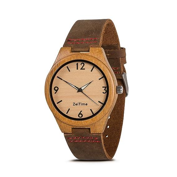zeitime Madera Reloj de madera de bambú | Woody | 100% real de piel Armand