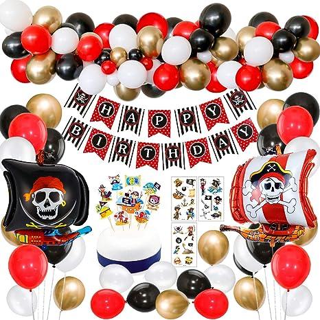 SPECOOL Decoraciones de Fiesta de cumpleaños Pirata con Pirata ...