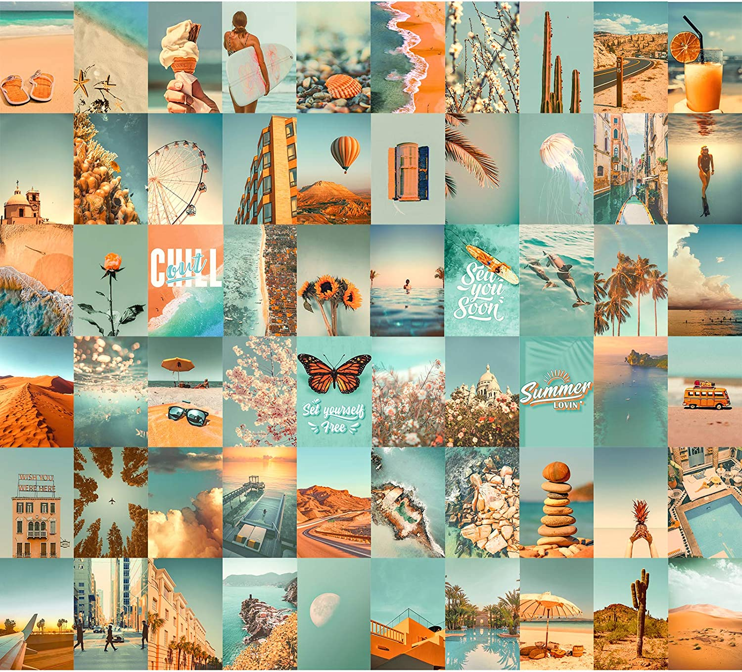 Wall Collage Kit 60 PICS Aesthetic Pictures by Aesthetic Atmosphere, 4×6 inch Teal Blue Photo, Bedroom Decor for Teen Girls Room, Trendy Art VSCO Prints for Dorm Decorations, Cute Posters