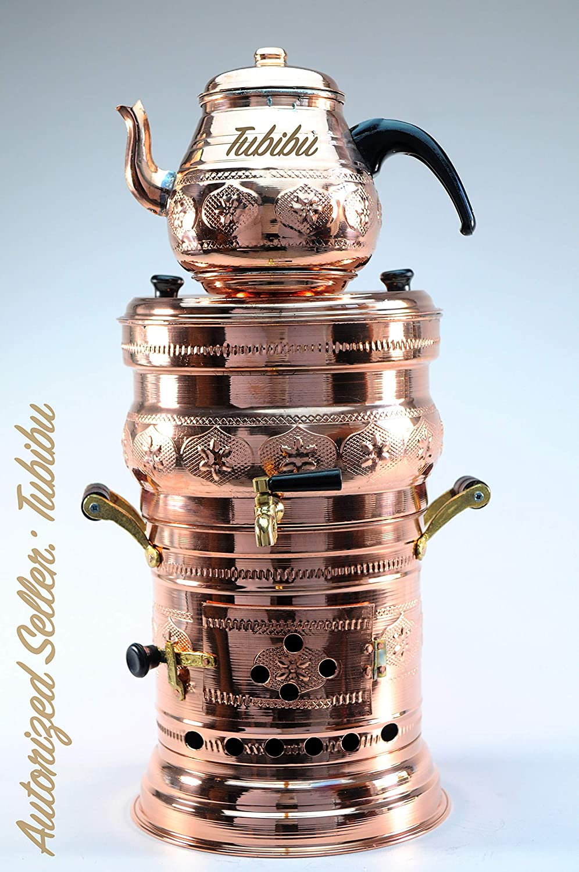 Tubibu Copper Samovar Tea Pot Set Charcoal Handmade Real Copper Samovar