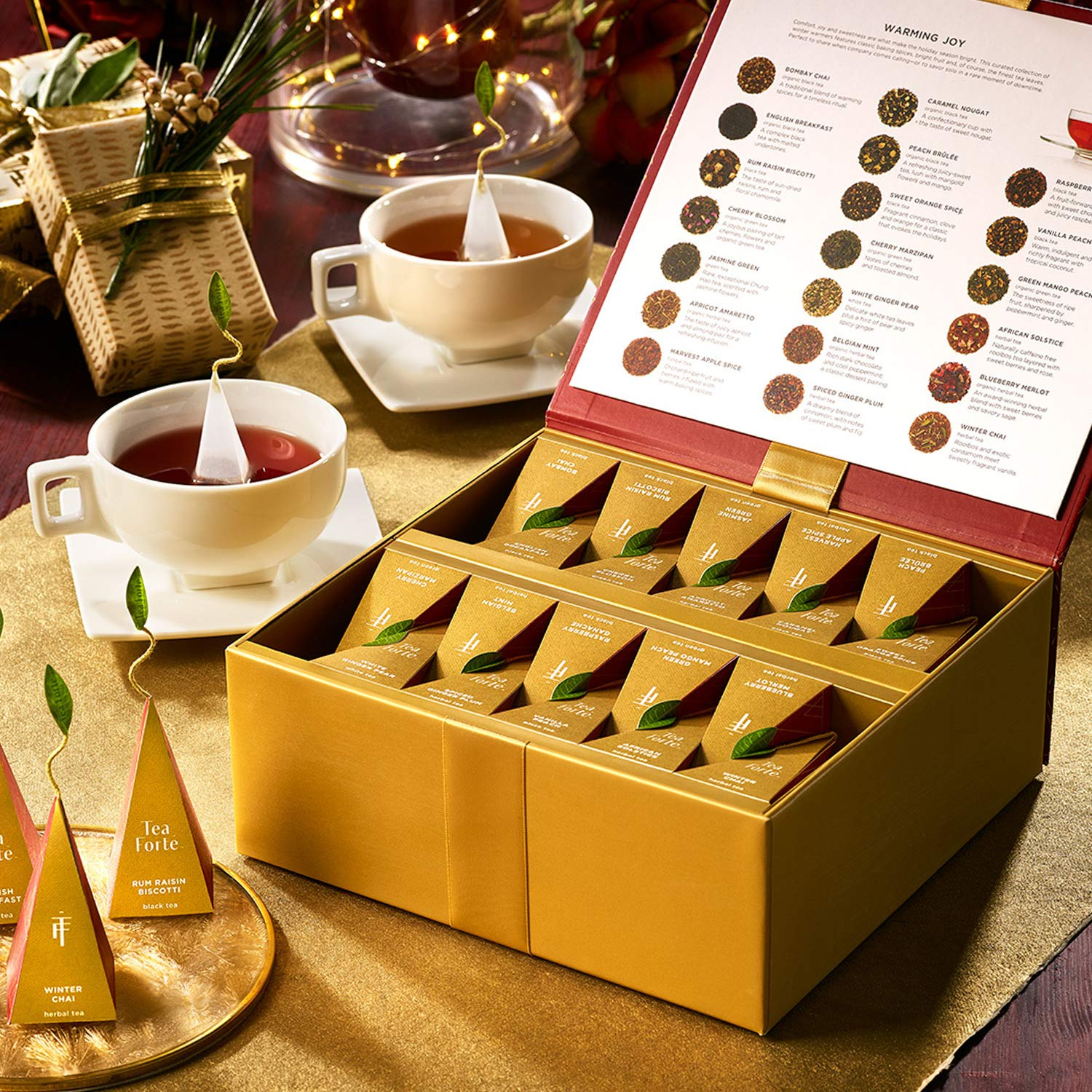 Tea Forte Warming Joy Tea Chest Tasting Assortment Featuring Seasonal and Festive Tea Blends, 40 Handcrafted Pyramid Tea Infusers Red & Gold