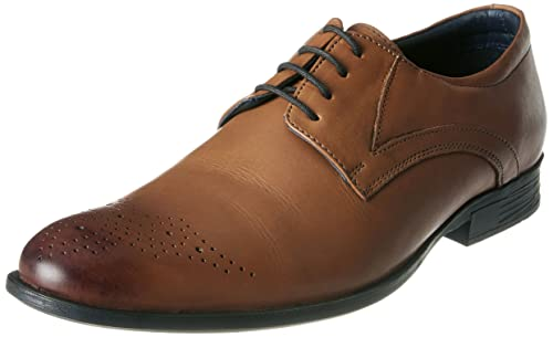 e822a43f716 Hush Puppies Men s London Derby Tan Brown Leather Formal Shoes - 9 UK India  (