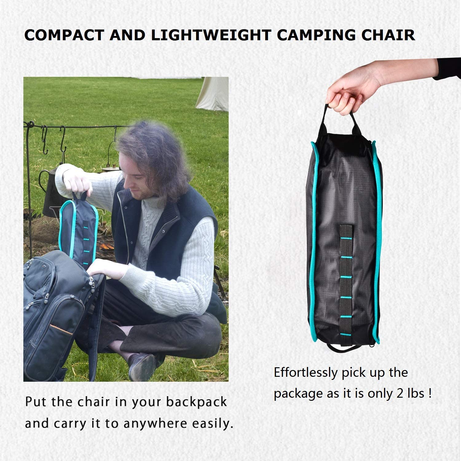 Heavy Duty Aluminum Frame 310lb Capacity Lightweight Camp Chair Compact Folding Camping Chair for Fishing Picnic Hiking Grepatio Backpacking Camping Chair