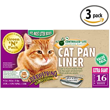 Green N Pack Extra Large Drawstring Cat Pan Liner, 16-Count