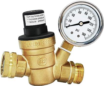 RV Plumbing RV Brass Water Pressure Regulator Adjustable Water Pressure Regulator with Guage