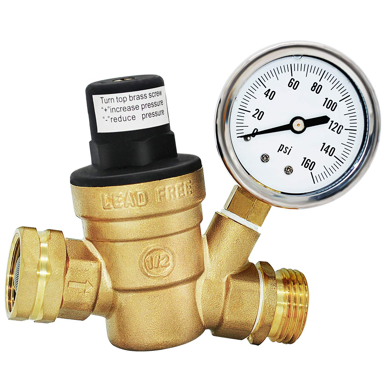 Water Pressure Regulator Valve for Travel Trail Lead Free 3/4'' Pressure Regulator Valve Rv Water Pressure Regulator Brass Adjustable with Gauge and Inlet Screened Filter
