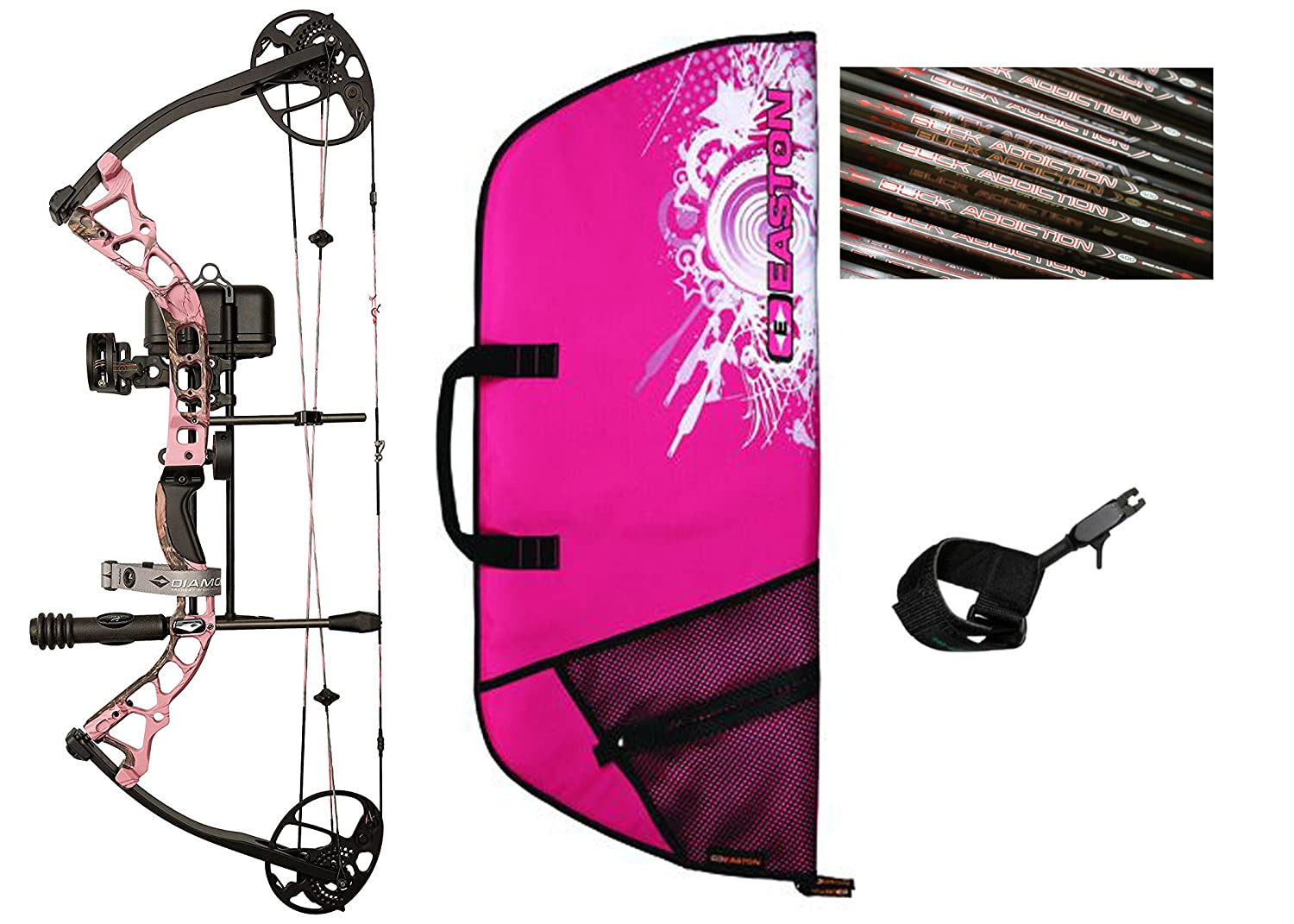 Diamond Infinite Edge Pro Compound Bow, Pink, Right Hand, Ready to Hunt  Package