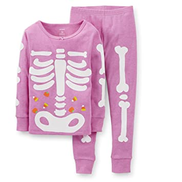 0530070a8f8b Amazon.com  Carters Girls Toddler Pink Skeleton Pajama Set Purple 5T ...