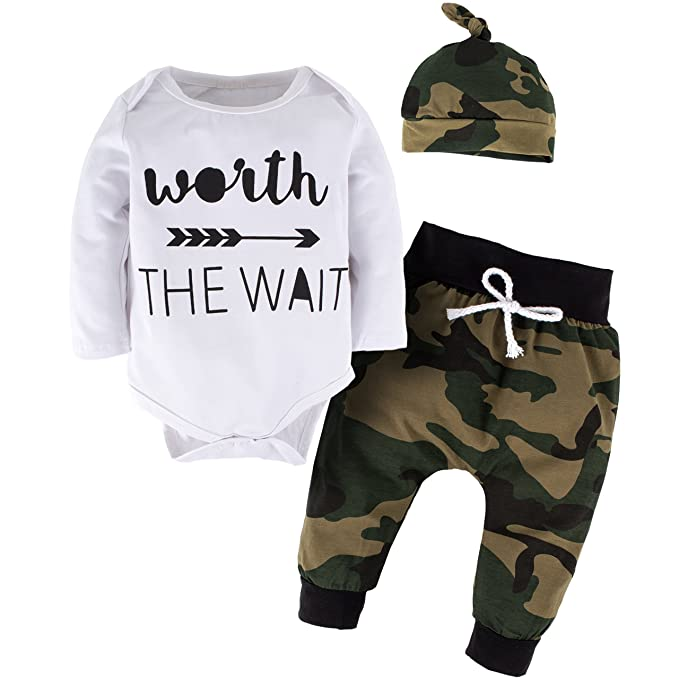 2ce4dec848d YIJIUJIU Toddler Boys 3 Piece Romper Outfits Baby Girl Clothes Letter Arrow  Bodysuit +Camouflage Army