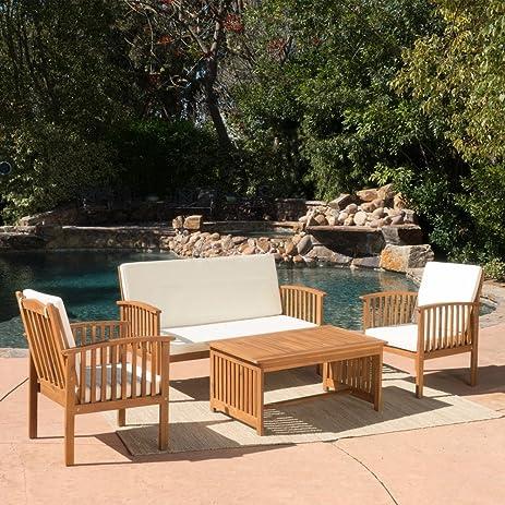 Carolina 4 Piece Outdoor Eucalyptus Lounge Seating Group With Cushions