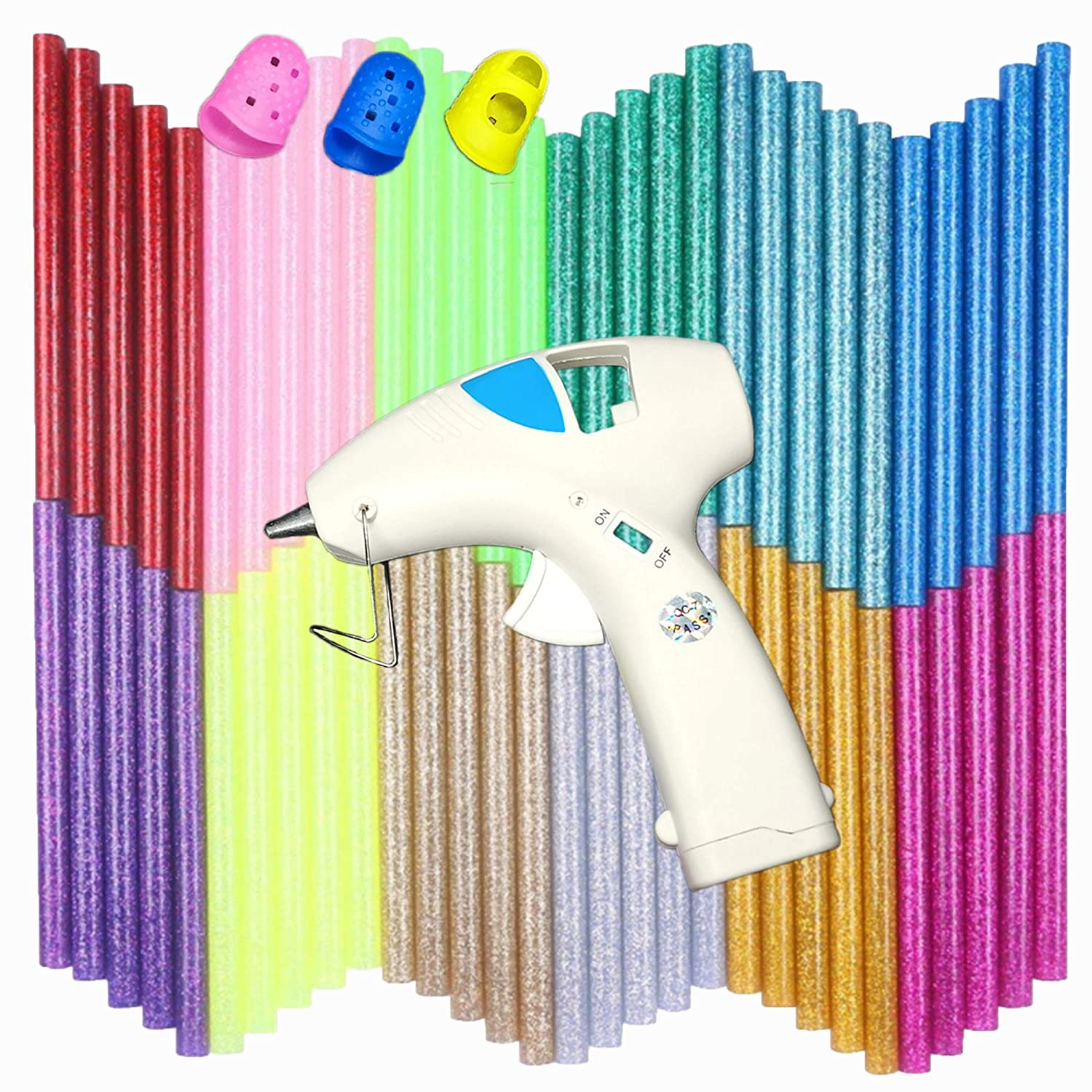 NEX& CO Cordless Hot Glue Gun with Glue Sticks for Arts and Crafts - Portable 10W Battery Powered Low Temp Hot Melt Glue Gun Kit with 60 Colorful Refills Finger Protectors for Kids Boys Girls Adults NEW-WXJQ-WH
