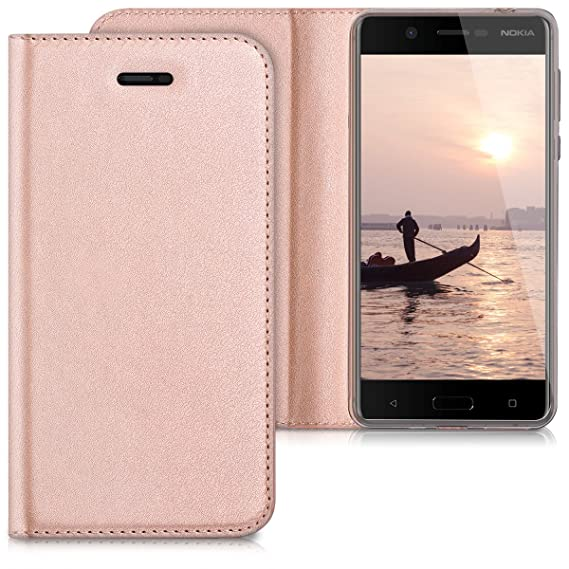 quality design f72be 1fec1 kwmobile Flip Case for Nokia 5 - Smooth PU Leather Slim Folio Cover  Protective Phone Holder - Rose Gold