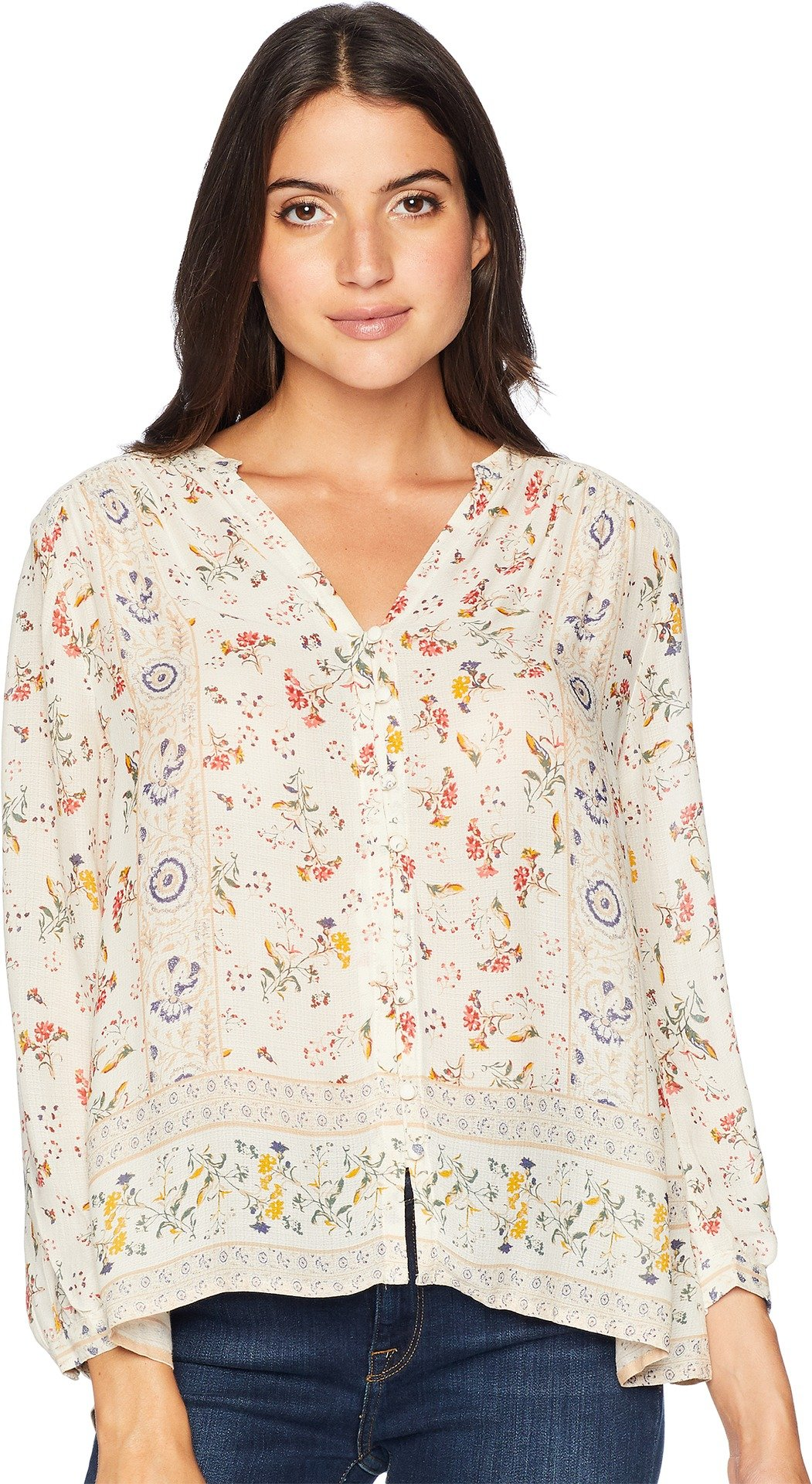 Lucky Brand Women's Printed Peasant Top, Natural Multi, S