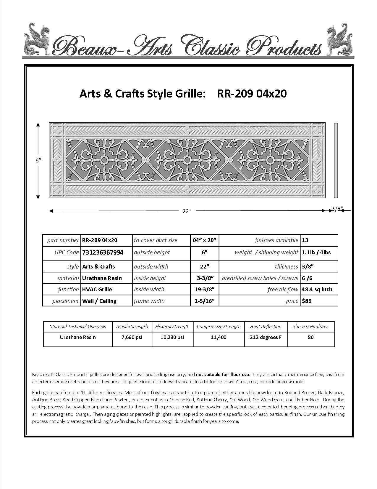 Decorative Grille, Vent Cover, or Return Register. Made of Urethane Resin to fit over a 4''x20'' duct or opening. Total size of vent is 6''x22''x3/8'', for wall and ceiling grilles (not for floor use).
