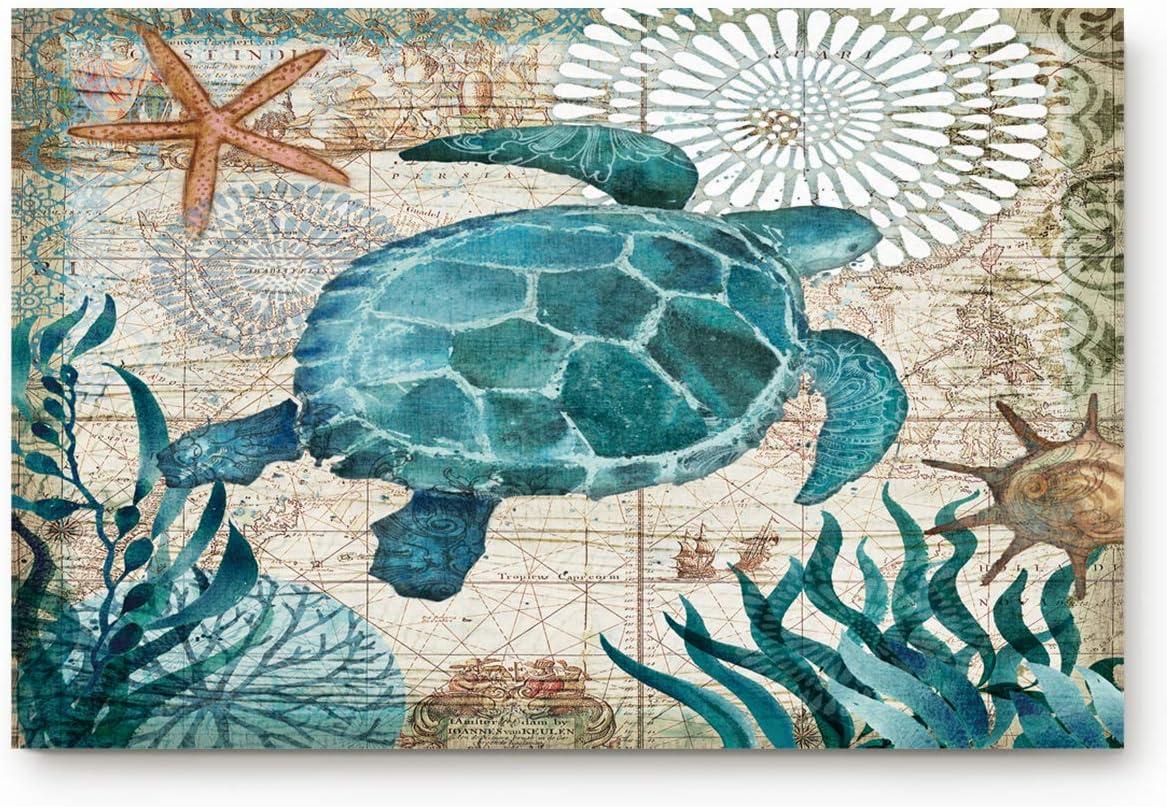 Vandarllin Coastal Blue Sea Turtle Nautical Map Doormat Welcome Mats Rugs Carpet Outdoor Indoor for Home Office Bedroom, 18 x30