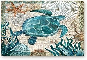 """Vandarllin Coastal Blue Sea Turtle Nautical Map Doormat Welcome Mats Rugs Carpet Outdoor/Indoor for Home/Office/Bedroom, 18""""x30"""""""